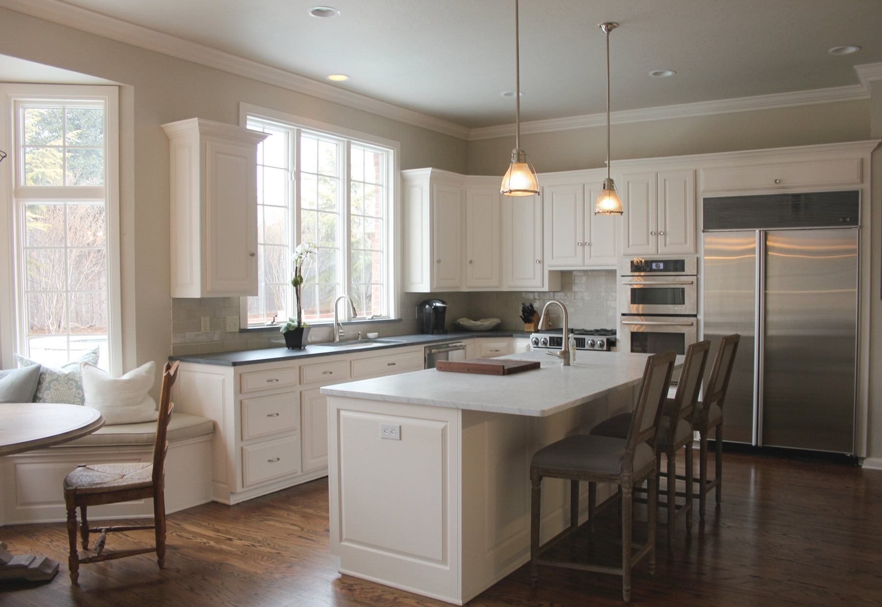 Revere Pewter Kitchen White Cabinets